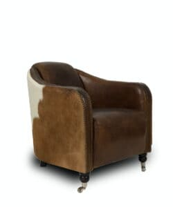 Clubsessel Hoss - Vintage Sessel aus Leder und Kuhfell.