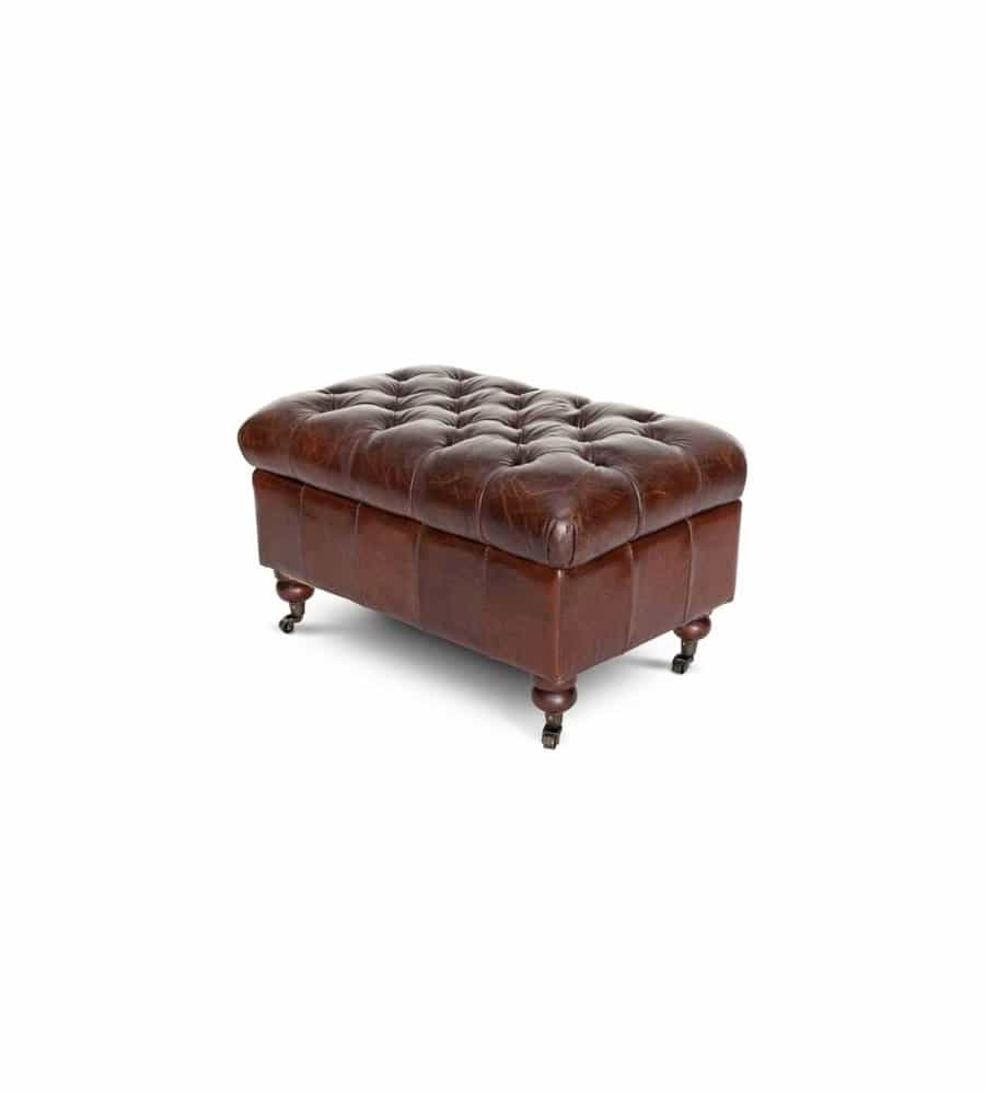 Chesterfield Hocker SUSSEX aus Rindsleder