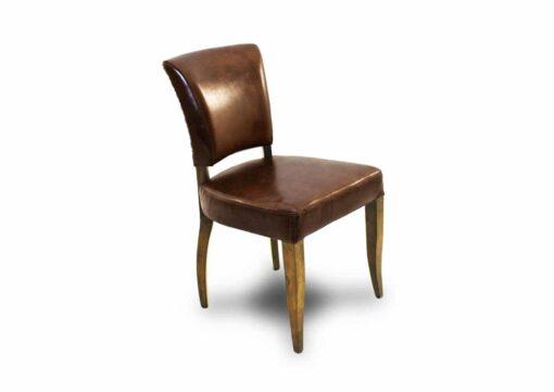 Stuhl Nelson - Vintage Stuhl aus Leder und Holz braun