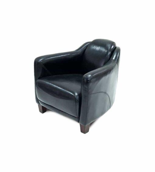 Clubsessel VEGAS aus Leder im Vintage-Stil, schwarz