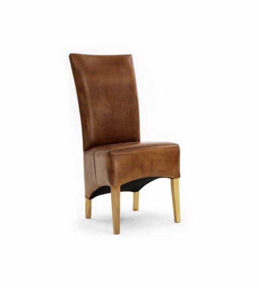 Stuhl BARON - Vintage Hochlehner Stuhl aus Büffelleder