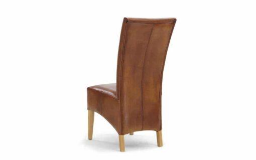 Hochlehner Stuhl RICHARD aus Büffelleder. Ansicht von hinten.
