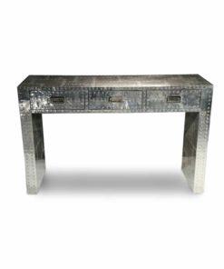 Konsolentisch AVIATOR – Schminktisch im Retro-Stil aus Aluminium genietet mit 3 Schubladen.