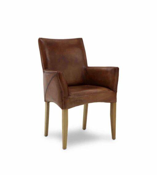 Stuhl LORD - herrschaftlicher, eleganter Armlehnstuhl aus qualitativ hochstehendem Vintage Büffelleder. Gestell aus Eiche massiv natur geölt.