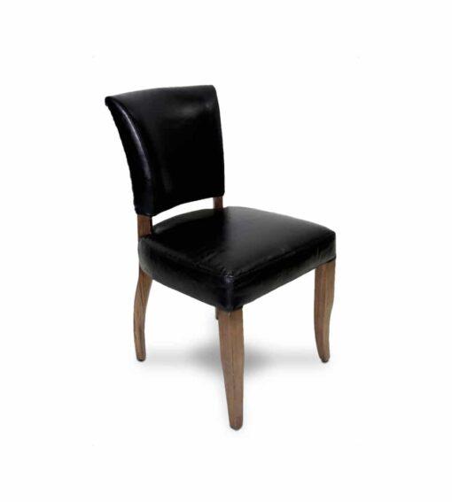 Stuhl Nelson -  Vintage Stuhl aus Leder und Holz schwarz