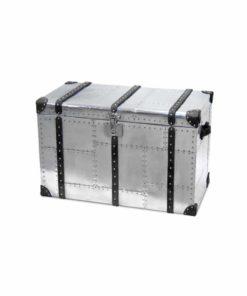 Überseekoffer AVIATOR Aluminium und Leder im Retro-Stil