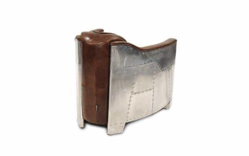 Clubsessel AVIATOR MKV - Retro-sessel aus genietetem Aluminium und Leder - Ansicht von hinten