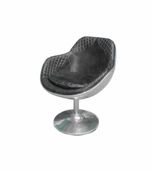 Drehsessel AVIATOR ACURA - bequemer Retro-Sessel aus der Aviator Möbel Kollektion aus genietetem Aluminium und Leder im Vitage-Look.