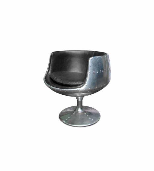 Drehsessel AVIATOR JAGUAL im Retro-Stil aus der Aviator Möbel Kollektion aus Aluminium, genietet. Sitzfläche aus Rindsleder im Vintage-Look.