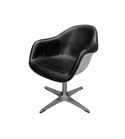 Drehsessel AVIATOR WALTER - Retro-Sessel aus der Aviator Möbel Kollektion aus genietetem Aluminium. Die Sitzfläche ist mit Rindsleder im Vintage-Look gepolstert.