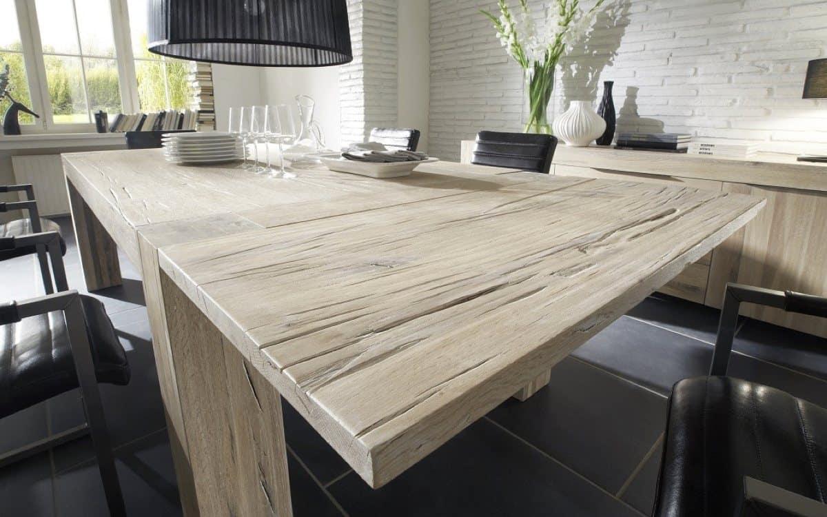 Massivholz Esstisch Brimir mit einseitig montierter Ansteckplatte