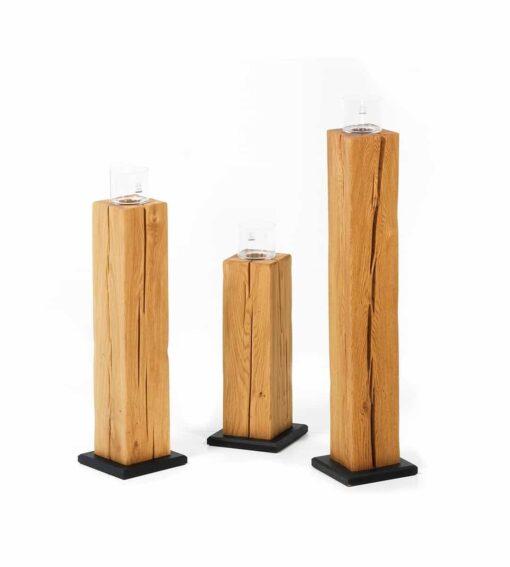 Kerzenständer BLOCK – 3er Set aus massiver Wildeiche 50 cm 70 cm 90 cm