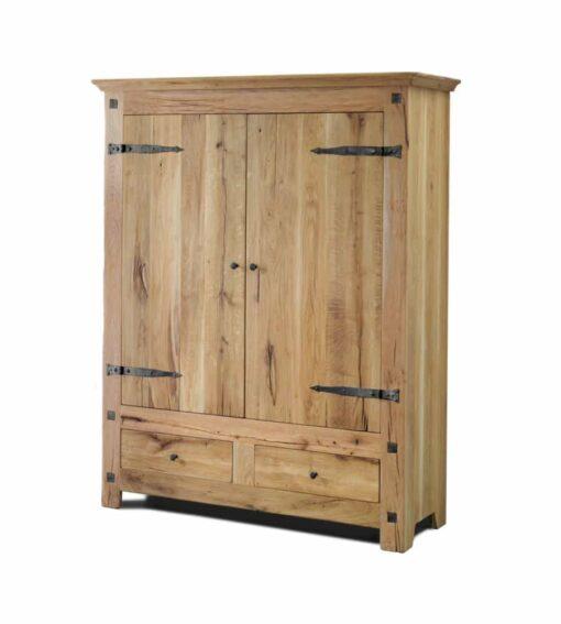 Massivholz Schrank CHÂTEAU, 2-türiger Schrank aus rustikaler Sumpf oder Wildeiche