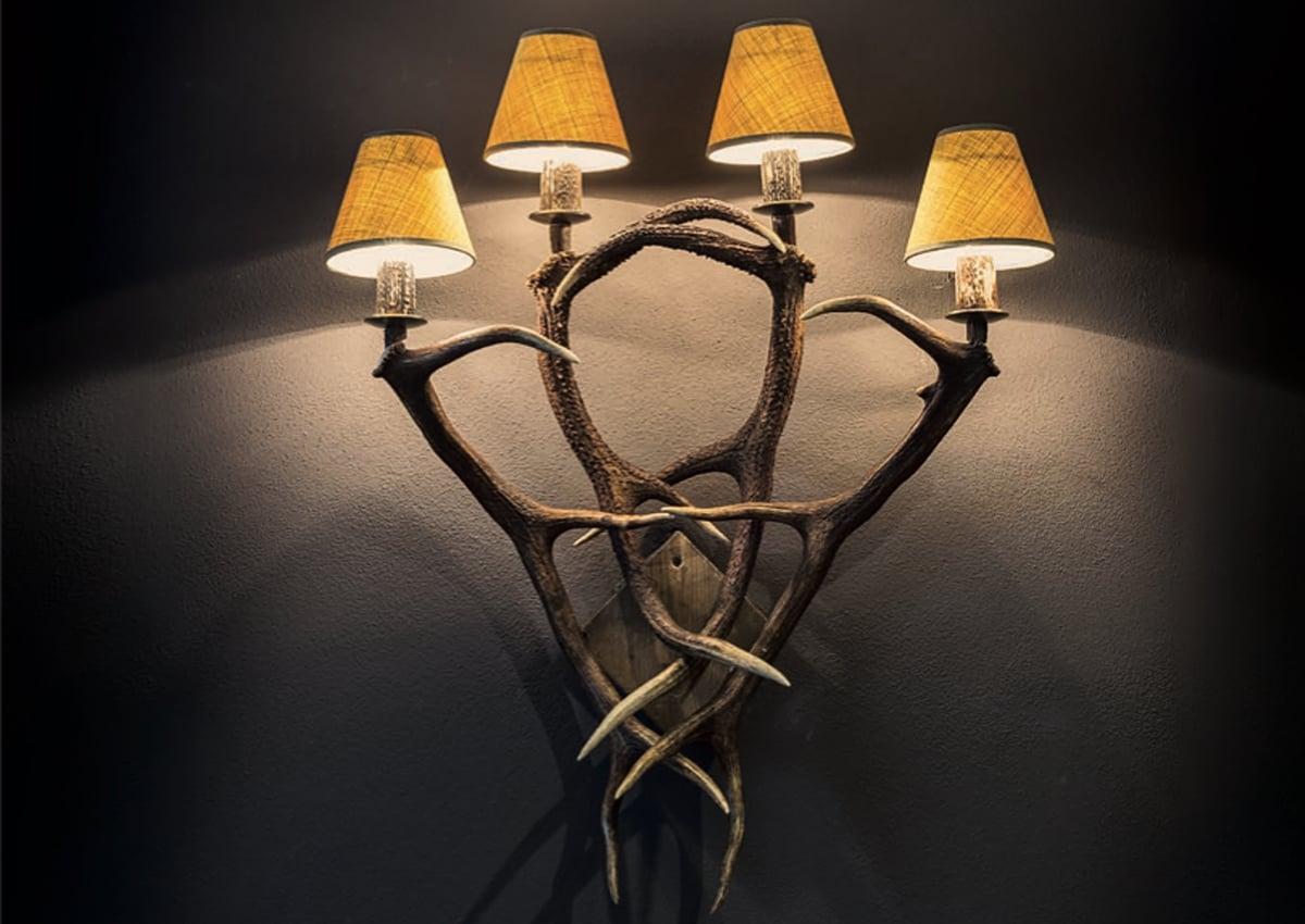 Huntsman, 4-flammige Wandlampe aus echtem Hirschgeweih