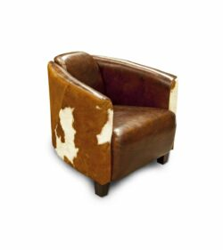 Clubsessel RODEO aus Leder im Vintage-Stil und Kuhfell
