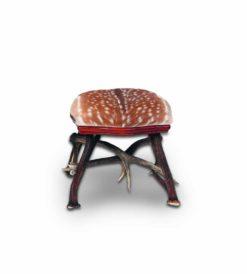 Fellhocker Susch - Gewihhocker mit Sitzfläche aus Echtfell Damwild
