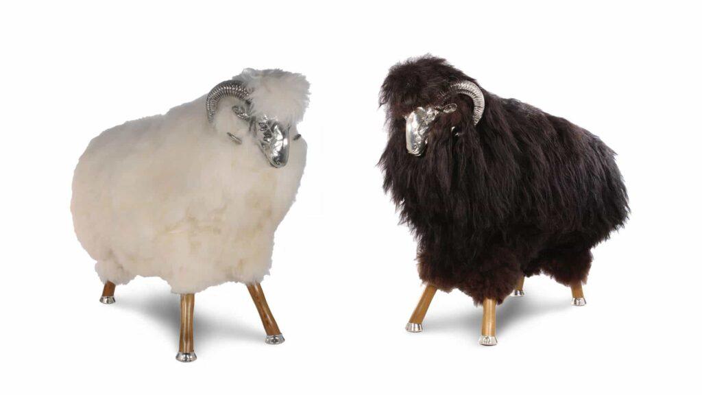 Fellhocker OVEJA - das schwarze und das weisse Schaf