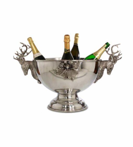 Champagnerkühler CERVUS, grosser Kühler aus Feinzinn