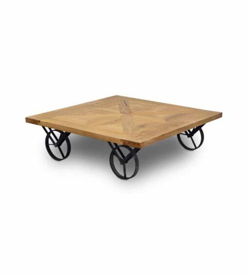 Couchtisch Radu - Salontisch aus Altholz Eiche auf Rädern