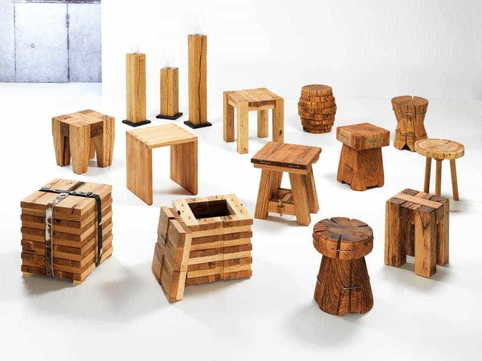 Lüönd Wohncollection Hocker und Kerzenständer aus Massivholz