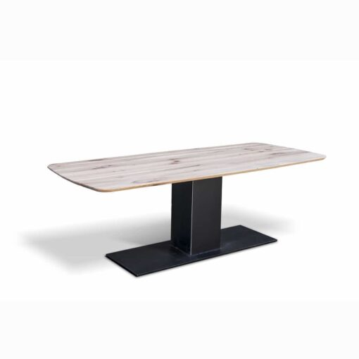 Esstisch KÖLN - massiver Holztisch aus Wildeiche und Stahl