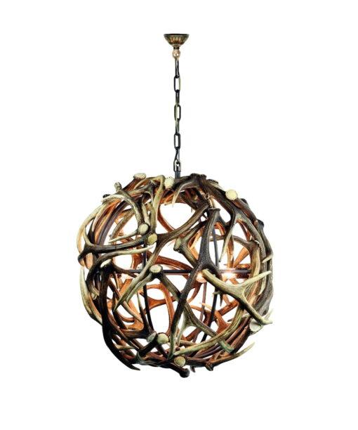 Geweihleuchter Globe - kugelförmiger Kronleuchter aus Hirschgeweih