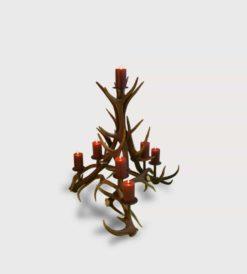 Kerzenständer VICELLI aus Hirschgeweih und Stahl,7-flammig