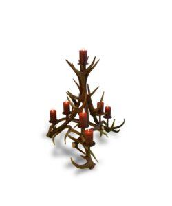Kerzenständer Viecelli aus Hirschgeweih und Stahl, 7-flammig
