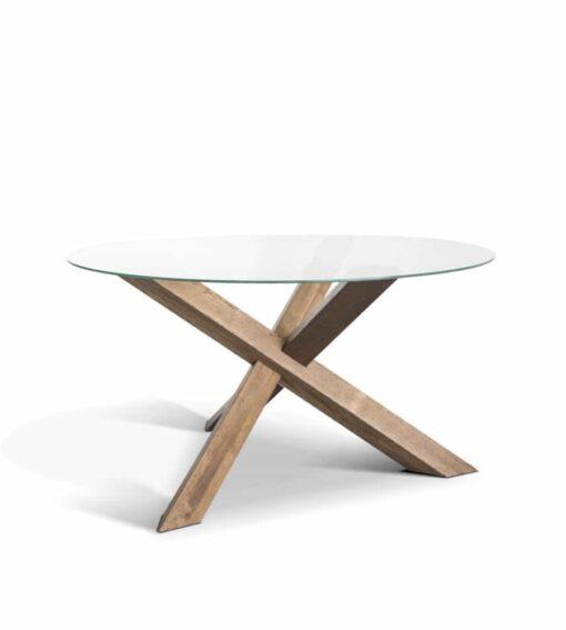 Tisch RIO - runder Esstisch aus Holz und Glas