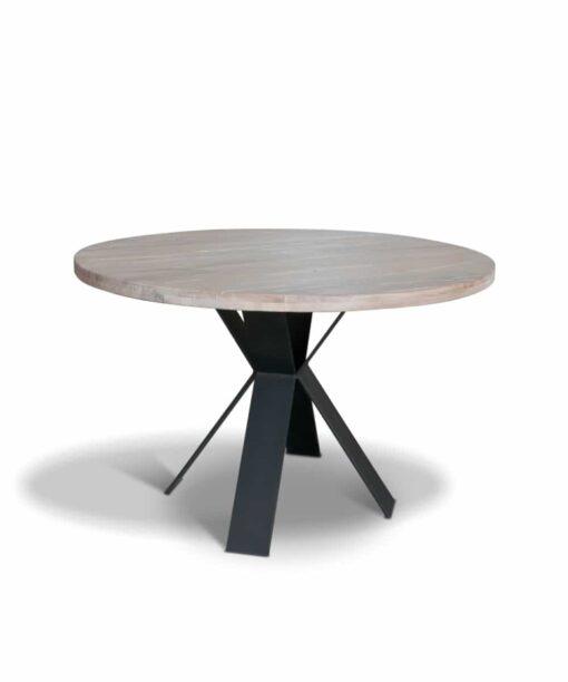 Tisch XAVIER, runder Esstisch aus Holz und Stahl