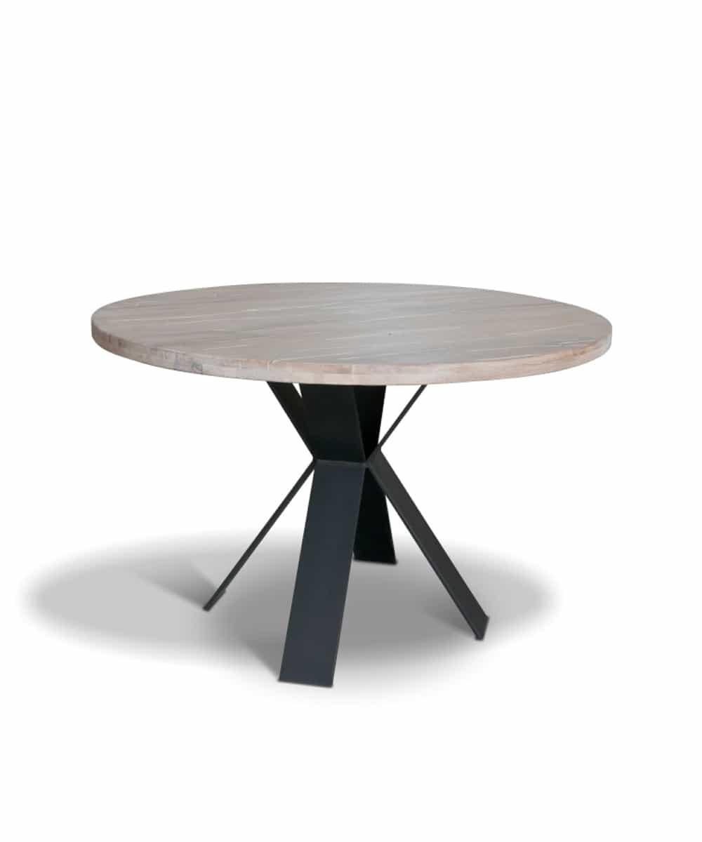 tisch xavier runder esstisch aus holz und stahl wohnhirsch. Black Bedroom Furniture Sets. Home Design Ideas