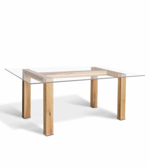 Tisch TREO, Esstisch aus Holz und Glas - Wildeiche