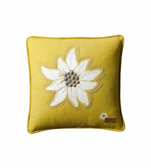 Alpenstern - Alpenchic Kissen mit grosser Edelweiss-Stickerei gelb