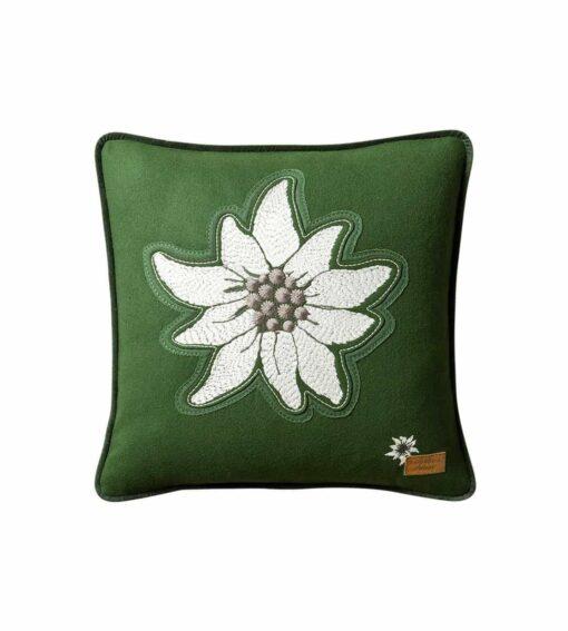 Alpenstern - Alpenchic Kissen mit grosser Edelweiss-Stickerei grün