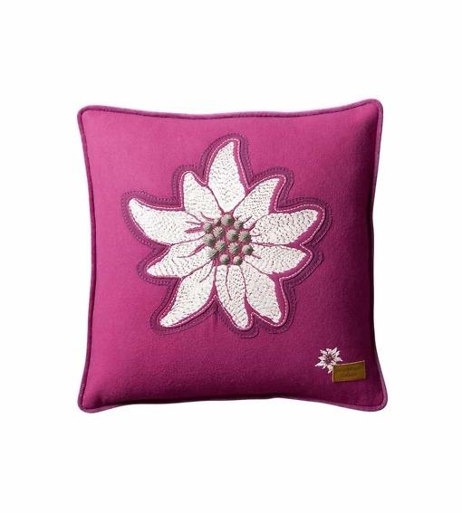 Alpenstern - Alpenchic Kissen mit grosser Edelweiss-Stickerei pink