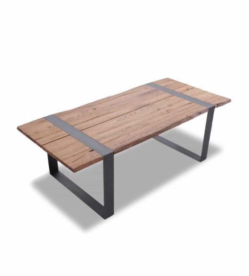 Esstisch Steel - Kufentisch mit Baumkante in Nussbaum geölt