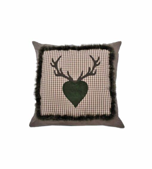 Kissen Alpenherz grau Motiv Herz mit Geweih auf Karo mit Webpelzbordüre grün