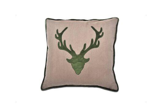 Kissen Geierwally - Alpenchic Kissen mit Hirsch Motiv aus 60% Leinen und 40 % Baumwolle Farbe: Braun - Rot