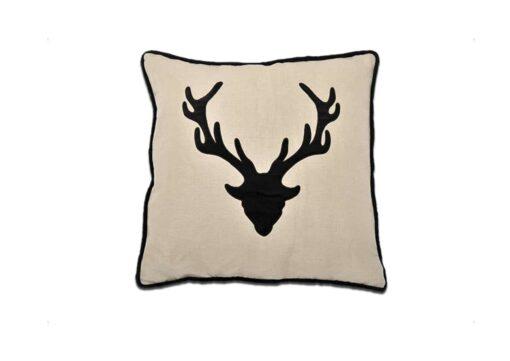 Kissen Geierwally - Alpenchic Kissen mit Hirsch Motiv aus 60% Leinen und 40 % Baumwolle Farbe: Natur - Schwarz