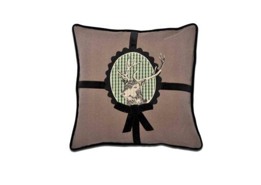 Kissen Hubertus - Alpenchic Kissen mit Hirsch Motiv auf grünem Karo aus 60% Leinen und 40 % Baumwolle Farbe: Braun