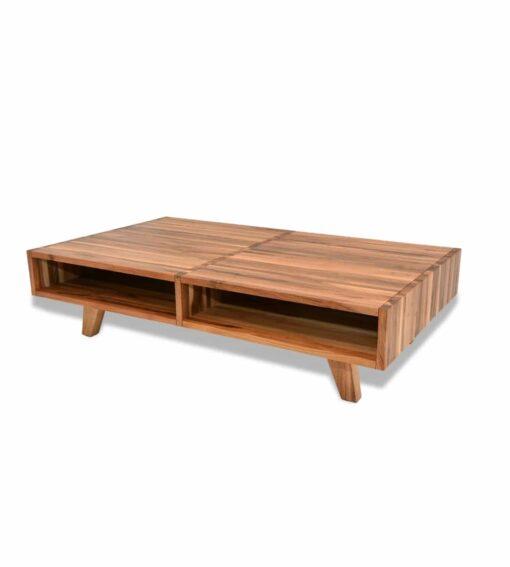Couchtisch Mebrula - Clubtisch aus massivem Nussbaum Holz Seitenansicht