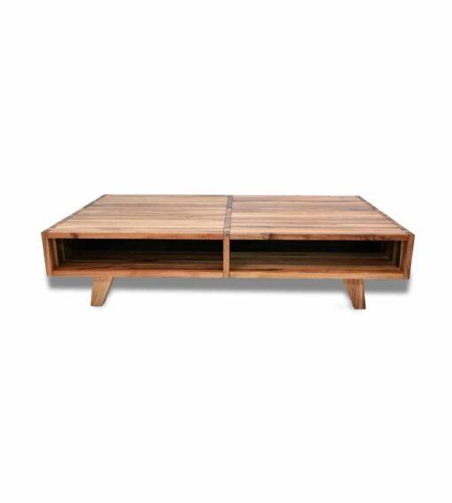 Couchtisch Mebrula - Clubtisch aus massivem Nussbaum Holz Frontansicht