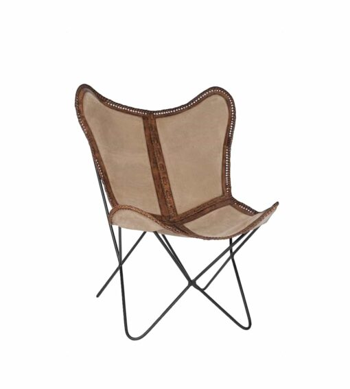 Sessel Melissa C - Butterfly Chair aus Canvas und Leder braun / natur