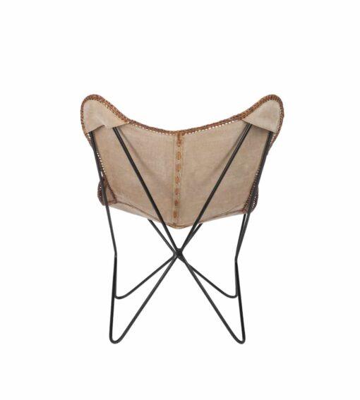 Sessel Melissa C - Butterfly Chair aus Canvas und Leder braun / natur Rückansicht