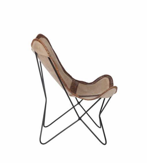Sessel Melissa C - Butterfly Chair aus Canvas und Leder braun / natur Ansicht von der Seite