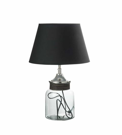 Tischlampe Pot - dekorative Lampe mit eine Glas Vase als Lampenfuss, Ständer aus Aluminium und schwarzem Stoffschirm