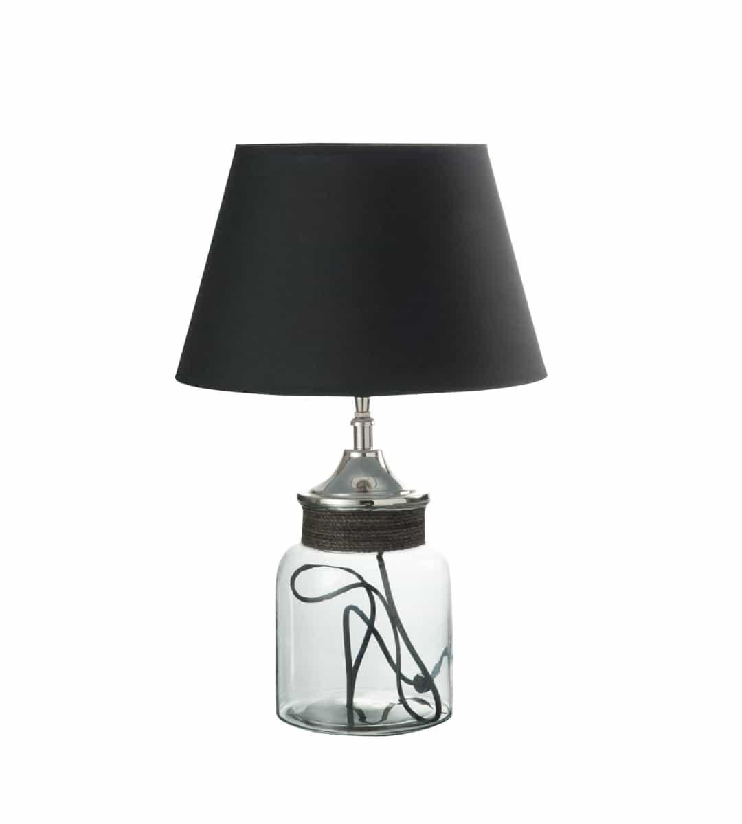 tischlampe pot aus glas aluminium mit stoffschirm. Black Bedroom Furniture Sets. Home Design Ideas