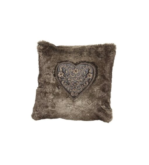 Alpenchic Kissen Sweet Heart aus flauschigem Webpelz braun