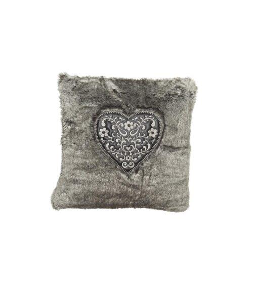 Alpenchic Kissen Sweet Heart aus flauschigem Webpelz grau