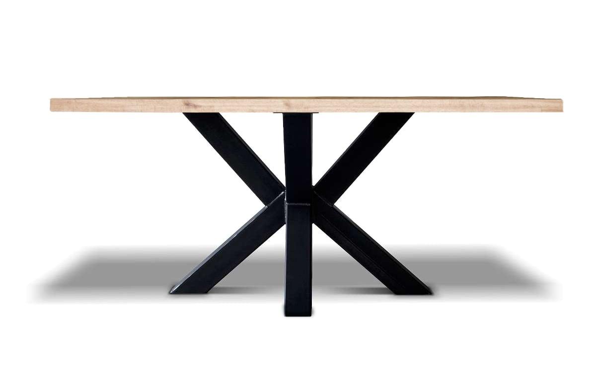Esstisch Spider - Industrial Tisch aus Stahl und Wildeiche in der Seitenansicht